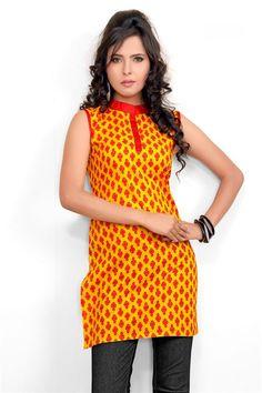 Elegant Yellow, Red Pink Cotton Printed Kurti