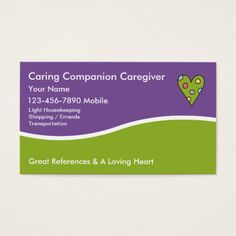 Caregiver Business Cards Card Ideas Name Visit