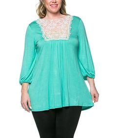 Look what I found on #zulily! Mint Lace-Bib Blouson Top - Plus by Celeste #zulilyfinds