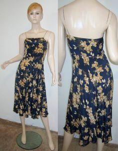 Vtg 70s CALVIN KLEIN 100% Silk Navy Floral Spaghetti Strap Bias Cut Dress S...http://stores.shop.ebay.com/vintagefluxed