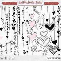 Heart ClipArt PNG, Valentine Digital Stamps, Doodle Heart Strings Border, Love Design Embellishment, Wedding Graphics from CarrieStephensArt Love Doodles, Doodle Drawings, Doodle Art, Valentine Doodle, Printable Valentine, Valentine Drawing, Valentine Theme, Valentine Decorations, Valentine Heart