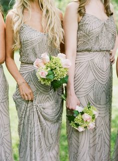 Sparkly bridesmaids' dresses are always a good idea! Photography : Melissa Schollaert Photography Read More on SMP: http://www.stylemepretty.com/north-carolina-weddings/highlands/2016/08/12/mountain-destination-wedding-in-highlands-north-carolina/