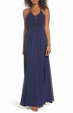 Main Image - Lulus Celebrate the Moment Lace Trim Chiffon Maxi Dress Slate Blue Bridesmaid Dresses, Bridesmaids, Homecoming Dresses, Wedding Dresses, Prom, Lace Camisole, Formal Dresses For Women, Chiffon Maxi Dress, Nordstrom Dresses
