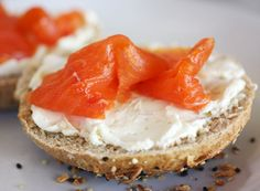 Bagel, cream cheese, and salmon