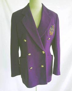 5d988dfc5e4 Escada Dead Stock Blazer Violet Purple Jacket Vintage 36 Angora Cashmere  Equine