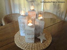 Weihnachten - vintage **Advent Windlichter Set** - ein Designerstück von Schwesterherz-Ideen bei DaWanda