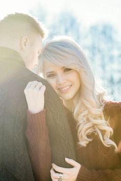 Gorgeous Bride-to-Be Allie with platinum curls | L Estelle Photography | See more! http://heyweddinglady.com/enchanted-winter-woods-engagement-from-lestelle-photography/