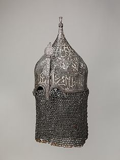 Helmet with Aventail | Date: late 15th–16th century | Medium: Steel, iron, silver, copper alloy | Accession Number: 50.87 | On view at The Met Fifth Avenue in Gallery 380