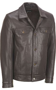 Wilson Leather Classic Leather Jean Jacket - Wilsons Leather