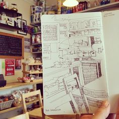 Wee cuppa and some drawing at Port Bannatyne post office by Wil Freeborn, via Flickr