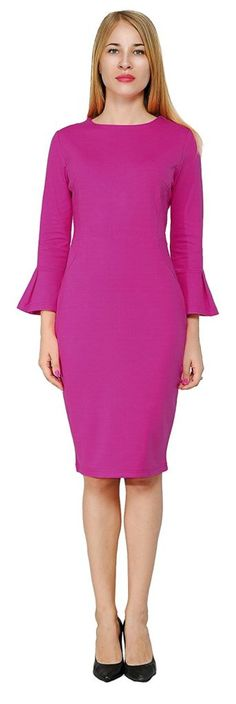 Marycrafts Womens Flounce Bell Sleeve Office Work Casual Pencil Dress - best woman's fashion products designed to provide Trendy Dresses, Women's Fashion Dresses, Trendy Outfits, Dress Outfits, Woman Dresses, Dress Clothes, Work Casual, Casual Summer, Pencil Dress