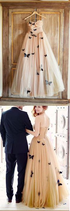 A-Line Strapless Sweetheart Lace up Prom Dress,Tulle Sleeveless Ruffles Wedding Dresses UK,#PromDressesUK,#WeddingDressesuk,#champagne,#tulle,#gorgeous,#elegant,#flowers