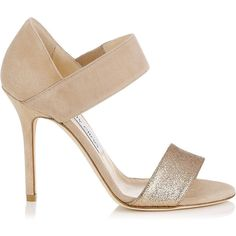 Jimmy Choo Tallow Quartz Suede and Fine Glitter Evening Sandals