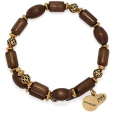 Alex and Ani Woodland Hush Wrap Bracelet ($38) ❤ liked on Polyvore featuring jewelry, bracelets, wrap bracelet, wooden jewelry, alex and ani jewelry, stackers jewelry and 24k jewelry