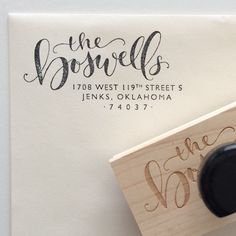 Custom calligraphy return address stamp by HoneybeeLetterShop || Selected by Finepointwedding.com