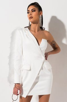 Front View Truth Hurts One Shoulder Blazer Mini Dress in White Classy Short Dresses, Elegant Dresses For Women, Cute Casual Outfits, Stylish Outfits, Dress Outfits, Fashion Outfits, Prom Dresses, Blazer Dress, Glamour