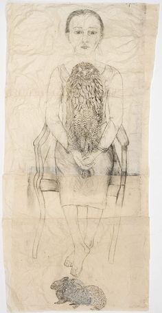 kiki smith Seated Girl with Owl and Rabbits 2004 Collage on Nepalese paper 164 x 81 cm Kiki Smith, Art And Illustration, Figure Drawing, Painting & Drawing, Pencil Drawings, Art Drawings, Art Graphique, Gravure, American Artists