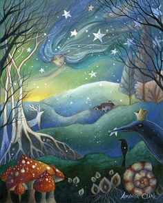 this has a dreamy look to it.  looks like art i might like to make?  Yule Painting