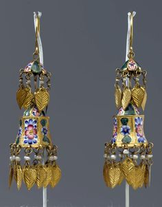 Iran (Persia) | Two tiered enamel earrings; gold, polychrome enamel and pearls | ca. late 18th -19th century | Qajar Dynasty