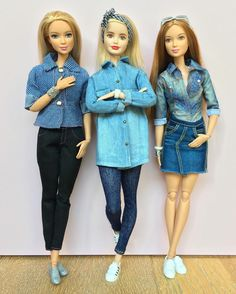 Denim lovers Dolls: Fashionstas on Made To Move bodies.  #barbie #barbiestyle #barbiedoll #barbiefashionista #madetomovebarbie #barbiemadetomove #barbieclothes #tallbarbie #dollclothes #dollphotogallery #dollcollector #denim #doubledenim #denimshirt #denimstyle #clearlan
