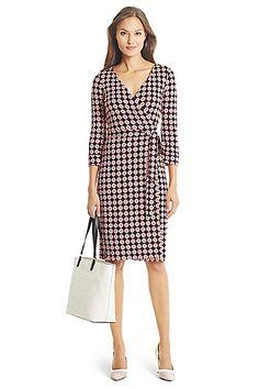 New Julian Two Silk Jersey Wrap Dress in in Vintage Tie Small Pink