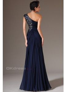 Dark Blue One-Shoulder Evening Dress