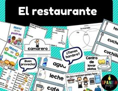 Spanish restaurant and food worksheets, speaking activities, and ideas for your bilingual, immersion or elementary Spanish class or kids. Includes 50 word wall pictures of food items (la comida). This product is in Spanish and perfect for students learnin
