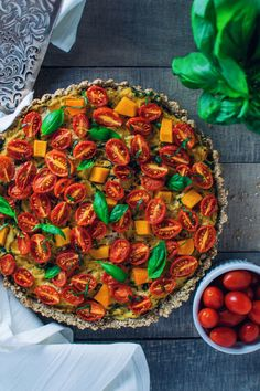 Honeynut Squash & Cherry Tomato Tofu Quiche - Laws of Bliss Quiche Recipes, Tofu Recipes, Vegetarian Recipes, Healthy Recipes, Tofu And Tomato Recipe, Vegan Nyc, Vegan Food, Honeynut Squash, Eating Vegetables
