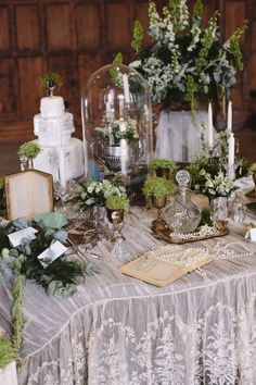 Gorgeous vintage wedding inspired table setting with vintage furniture and vintage lace etc. From 'Miss Vintage Wedding Affair ~ 20 October 2013, Battersea Arts Centre, London'. Photography http://www.louisebjorling.com/ + http://cecelinaphotography.com/