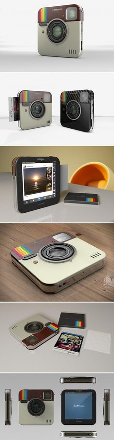 Polaroid & Instagram Ce petit bijou de technologie a été créé par Antonio De Rosa de ADR Studio, il mélange un appareil photo et une mini imprimante av