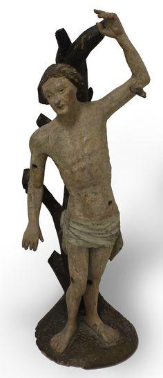 SVÄTÝ SEBASTIÁN  NEZNÁMY STREDOEURÓPSKY REZBÁR  Obdobie: koniec 15. storočia  Materiál: lipové drevo  Technika: rezba, polychrómia  Značenie: neznačené  #art #auction #rezba #carving #museum #auctionhouse #diana Diana, Lion Sculpture, Statue, Art, Art Background, Kunst, Performing Arts, Sculptures, Sculpture