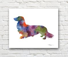 Long Haired Dachshund Art Print - Abstract Watercolor Painting - Wall Decor by 1GalleryAbove on Etsy