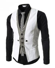 Waistcoat For Men Fake 2 Piece Button Two Tone Sleeveless Cotton Suit Gilet Waistcoat Men, Mens Suit Vest, Mens Suits, Suit Men, Jacket Men, Business Casual Suit, Business Dress, Casual Blazer, Men Casual