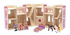 Fold & Go Princess Castle : This charming wooden castle, with convenient carrying handle, is perfect for your little princess. Its beautifully detailed exterior opens easily to reveal a royal palace furnished with four pieces of regal furniture and two horses. The prince and princess who live here are sure to live happily ever after!