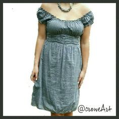 //S A L E//  Lightweight Denim Off Shoulder Midi Empire waist, off shoulder neckline, midi length, smocking at waistline for easy fit.  Size M, measurements to follow  Preloved in great condition! Dresses Midi