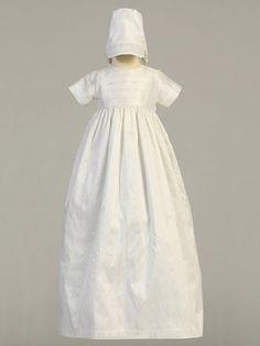 Unisex White Silk Heirloom Christening Gown