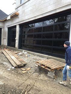 Modern Aluminum Garage Doors-Clear Glass Garage Doors During Installation by Modern Doors - Modern Doors Clear Garage Doors, Unique Garage Doors, Electric Garage Doors, Garage Door Styles, Glass Garage Door, Wood Garage Doors, Garage Door Design, Glass Doors, Home Modern