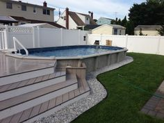 above ground pool with deck, should use non-slip tiles