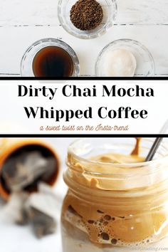 Dirty Chai Mocha Whipped Coffee is a sweet twist on the Insta-trendy Dalgona coffee! Remember just a few short months ago – shortly after COVID quarantine started...  Keep reading  The post Dirty Chai Mocha Whipped Dalgona Coffee appeared first on Biscuits and Grading. Drink Recipes Nonalcoholic, Yummy Drinks, Yummy Food, Real Food Recipes, Cooking Recipes, Fall Recipes, Coffee Biscuits, Mocha Coffee, Vegetarian