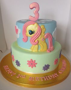 My Little Pony Fluttershy Marble Birthday Cake with vanilla buttercream & milk chocolate ganache