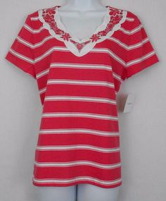 Croft Barrow Top Multi Color Sz PM Cotton Striped Short Slv Embroidered V Neck - This knit top features a v-neck with woven fabric, embroidery  embellishment, and scallop detail.  It would be great with capris, jeans, or casual pants.