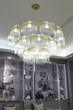 """Zeppelin"" was created for award winning Interior Designer @katharinepooley  for her luxury boutique in 'The Gate, Doha', it is part of collection of bespoke lighting sculptures which create stunning statements of intent through the mastery of a range of materials including finely mitred brass, delicate handmade ceramics, custom glasswork and custom designed LED lighting. #haberdasheryltd"