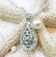 Sea foam Sea glass in drop filigree locket cage pendant  with fresh water pearl on Sterling Silver plated Necklace