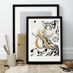 Katie Leamon Limited Edition Marble Ampersand Print - Trouva
