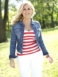 """jean denim jacket, red & white stripe tank, white pants.  #thick   #curvy  #sexy """"if you follow my Curvy Girl's Spring/Summer Closet, make sure to follow my Curvy Girl's Fall/Winter Closet.""""   http://pinterest.com/blessedmommyd/curvy-girls-fallwinter-closet/"""