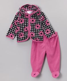 Take a look at this Black & Pink Daisy Zip-Up Hoodie & Footie Pants - Infant by Vitamins Baby on #zulily today!
