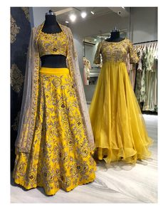 Stunning yellow color lehenga and blouse with blush pink color net dupatta. Lehenga and blouse with floral design hand embroidery thread work. Yellow color floor length ananrkali dress with hand embroidery work on yoke. Red Lehenga, Indian Lehenga, Bridal Lehenga, Bridal Mehndi, Lehenga Choli, Ethnic Fashion, Indian Fashion, Indian Dresses, Indian Outfits