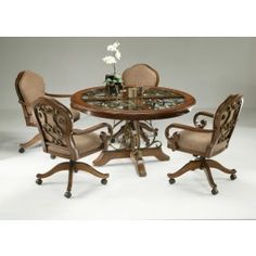Bon Pastel Furniture Carmel 5 Piece Round Wood With Glass Insert Dining Set  With Carmel Caster Chairs In Cosmo Sepia And Upholstered In Dakota Toffee