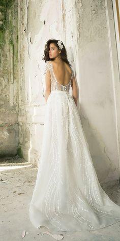 straight open short sleeve wedding dresses vered vaknin