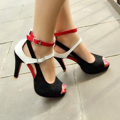 cd60d0a66 R$ 101.47 |Sapatos Mulher Sapatos de Festa Moda Mulher Sexy Fundo Vermelho  Alta Bombas de Verão dos saltos Tira No Tornozelo Sandálias Sapatos Tamanho  ...